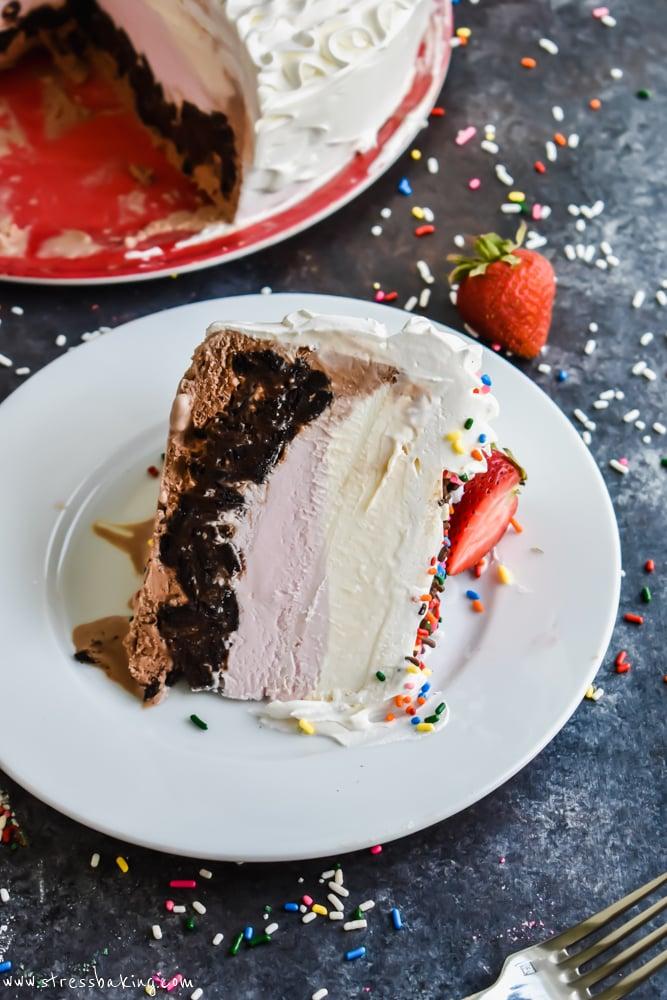 Neapolitan Crunch Ice Cream Cake slice on its side