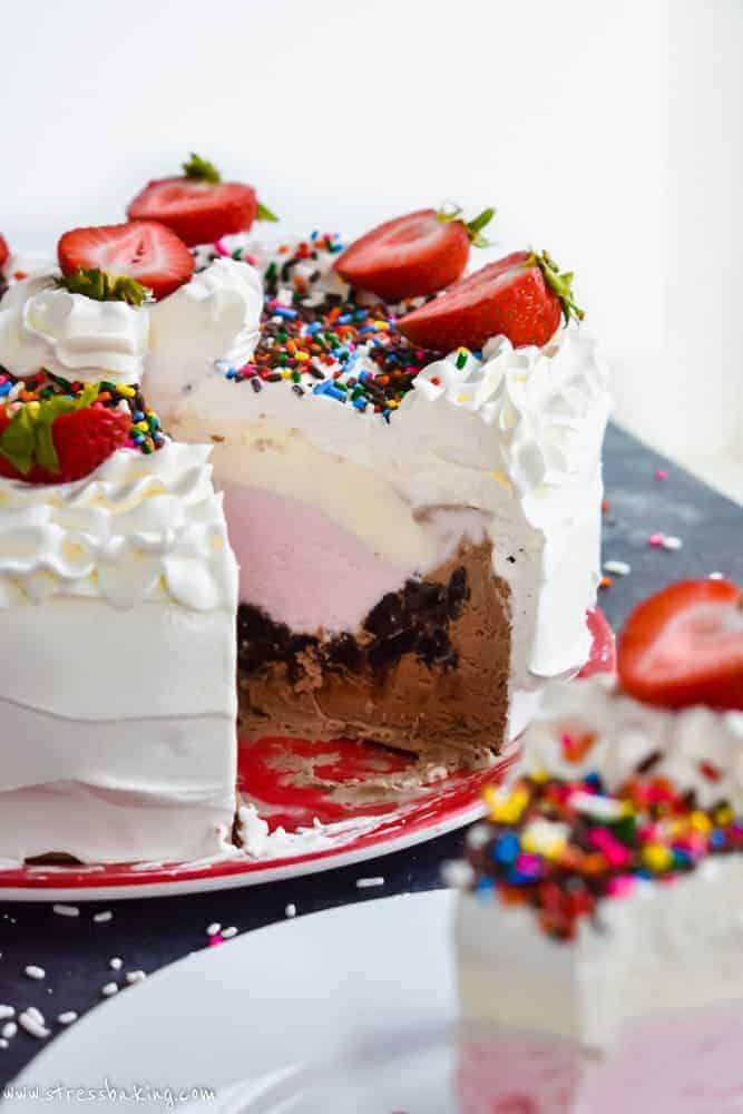 Neapolitan Crunch Ice Cream Cake