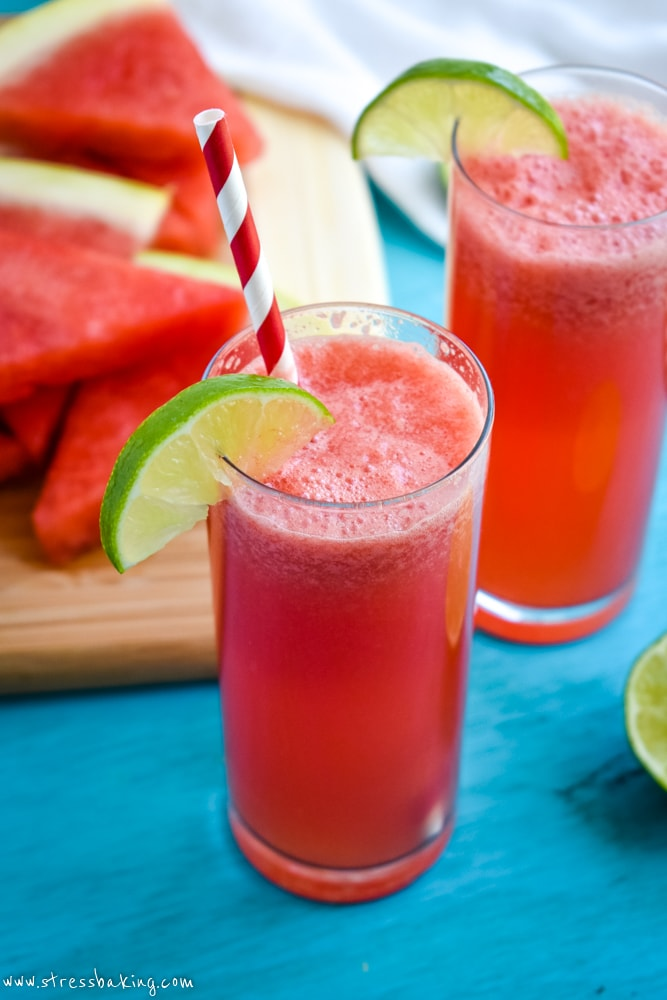 Watermelon agua fresca with a lime wedge