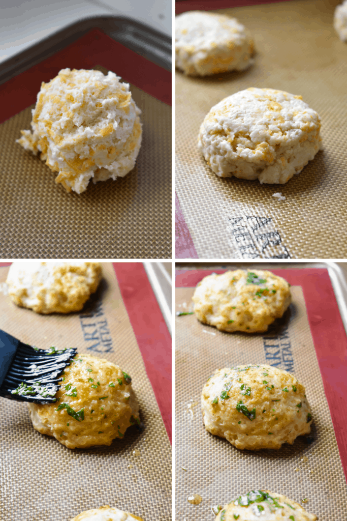 Four photo collage of shaping cheddar bay biscuit dough and coating in butter and parsley