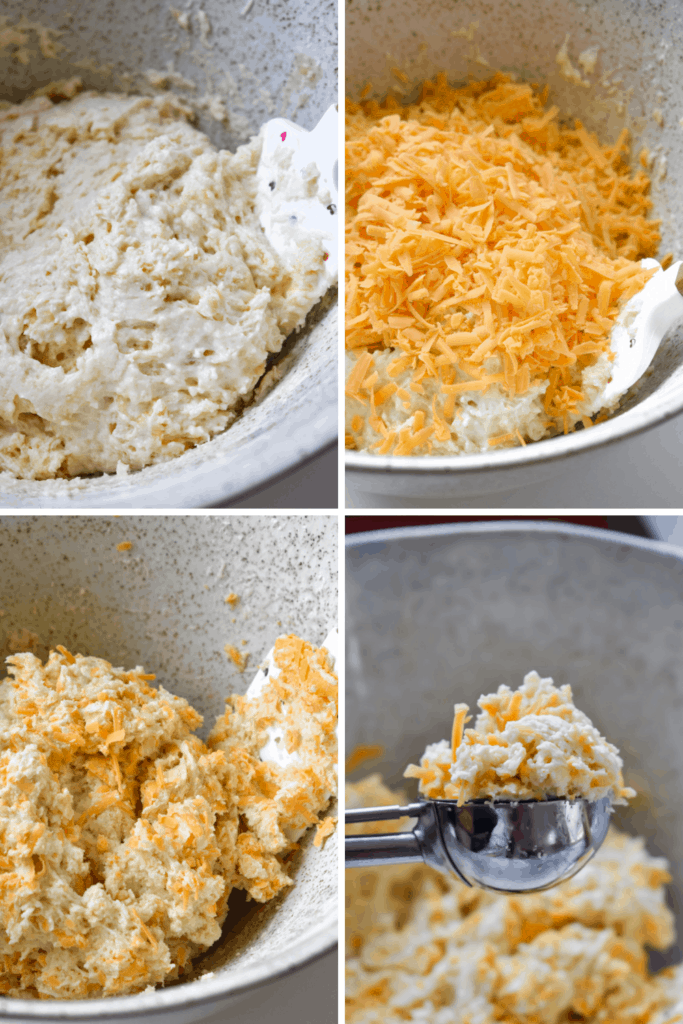 Four photo collage of making cheddar bay biscuit dough