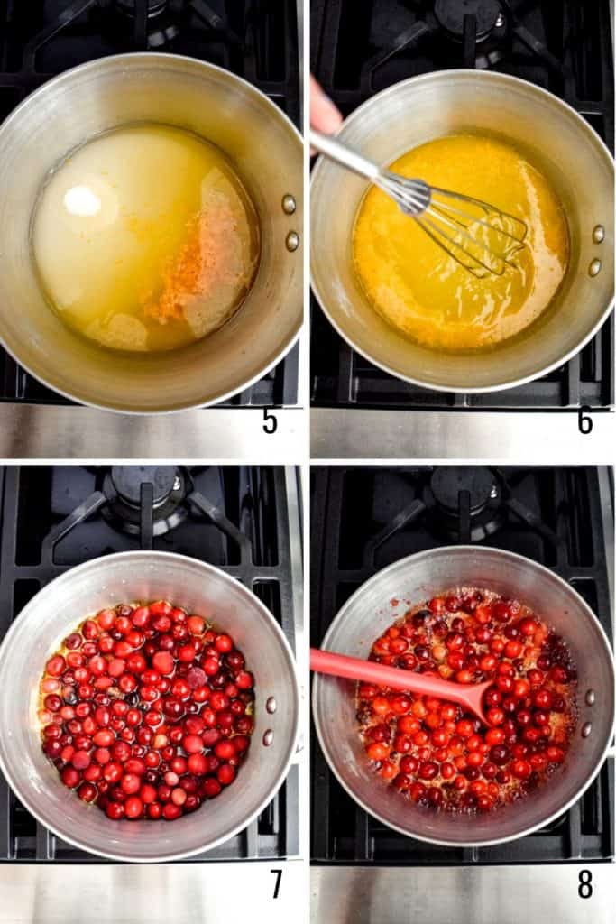 Four photo collage showing how to cook cranberry sauce