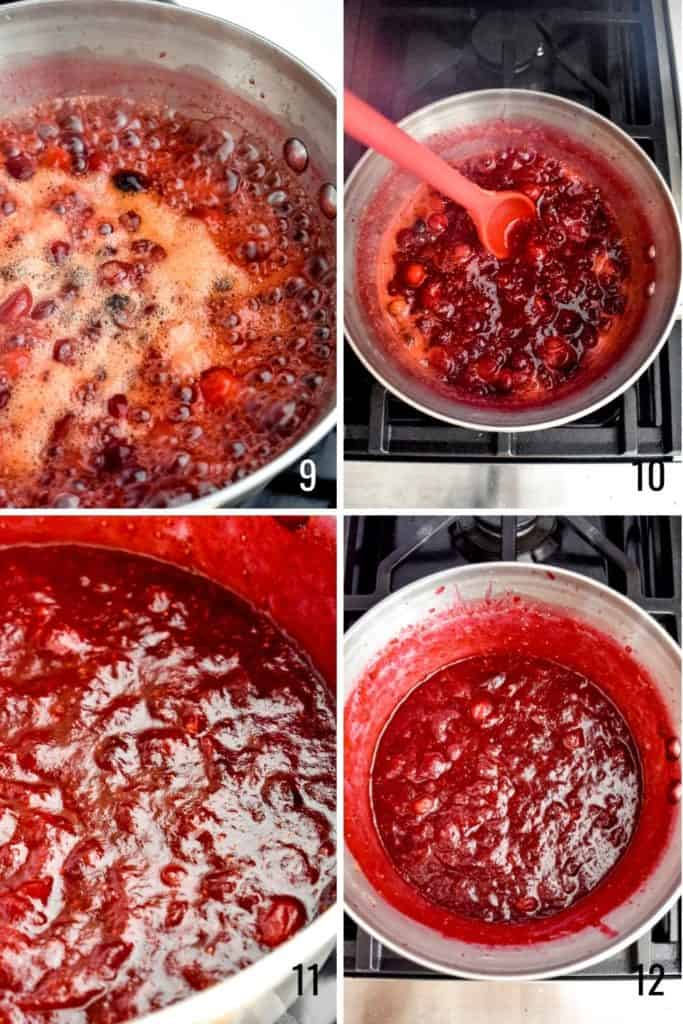 Four photo collage showing how to simmer cranberries for cranberry sauce