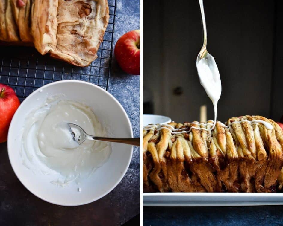 Side by side photos of apple strudel monkey bread being drizzled with white icing