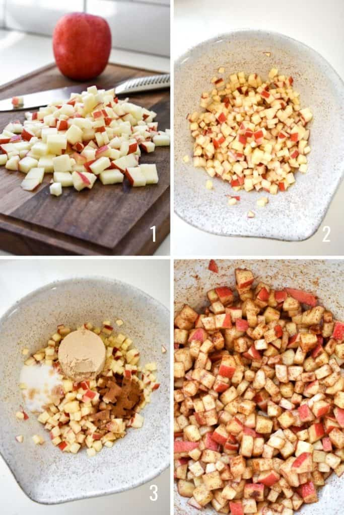 Four photo collage of diced apple being mixed with cinnamon and sugars
