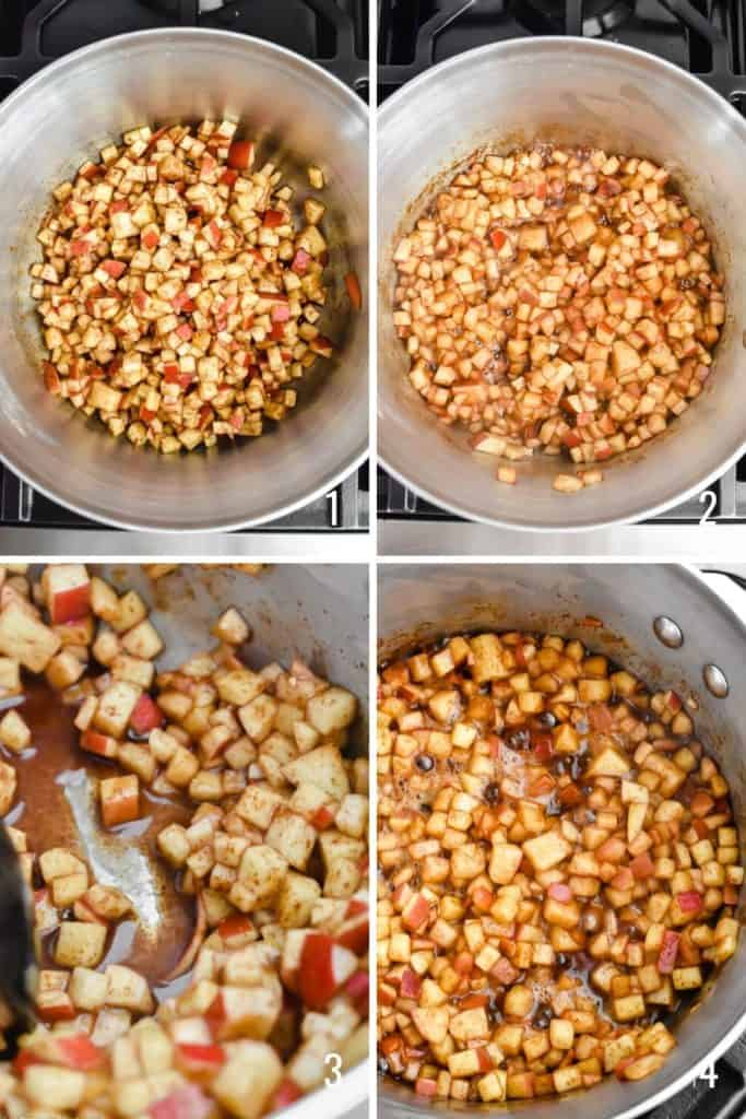 Four photo collage of diced apples cooking in a pot